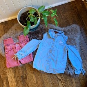 7 For All Mankind Chambray & Polka Dot Outfit 3T
